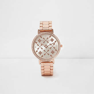 River Island Rose gold tone laser cut rhinestone watch