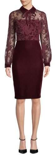 Badgley Mischka Collection Sheer Long-Sleeve & Velvet Dress