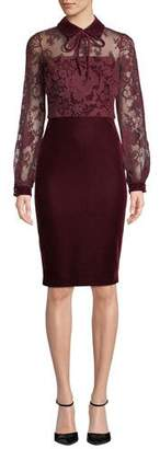 Badgley Mischka Sheer Long-Sleeve & Velvet Dress