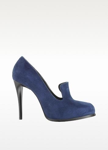 Jil Sander Navy Blue High Heel Suede Loafer
