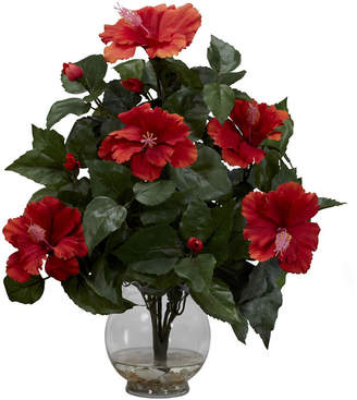 Asstd National Brand Nearly Natural Hibiscus Silk Flower Arrangement with Fluted Vase