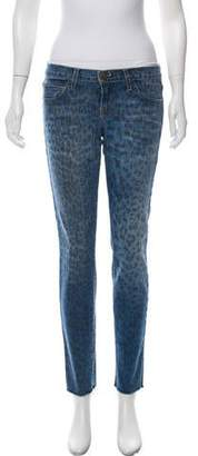 Current/Elliott The Rolled Printed Low-Rise Jeans