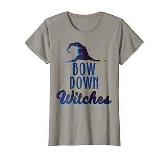 Womens Funny Halloween Bow Down Witches Witch TShirt Pun Tee