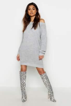 boohoo Waffle Knit Off The Shoulder Dress
