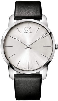Calvin Klein Watch, Men's Swiss City Black Leather Strap 43mm K2G211C6