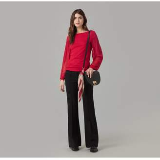Amanda Wakeley Red Cashmere Jumper With Silk Tulle Sleeve