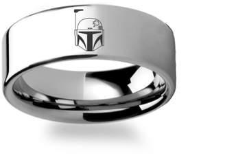 Star Wars Thorsten Rings Boba Fett Helmet Symbol Polished Flat Ring Tungsten Carbide Engraved Wedding Band Jewelry - 4mm 6mm 8mm 10mm 12mm