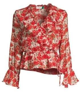 Rixo Roisin Floral Ruffled Drawstring Wrap Blouse