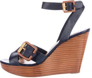 Chloé Chloé Leather Ankle Strap Wedges