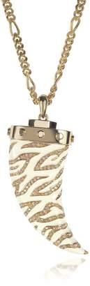Roberto Cavalli Golden Brass Long Necklace w/Ivory Enamel and Crystals Horn