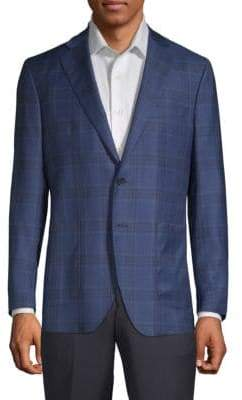 Saks Fifth Avenue Plaid Notch Lapel Jacket