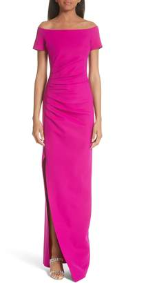 Chiara Boni Divis Off the Shoulder Column Gown
