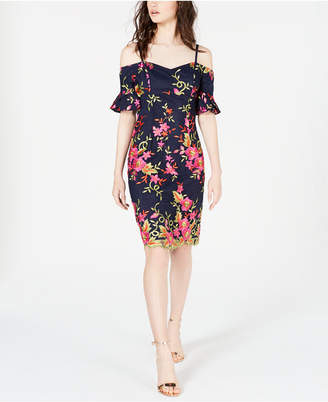 Trina Turk Trina Embroidered Cold-Shoulder Dress