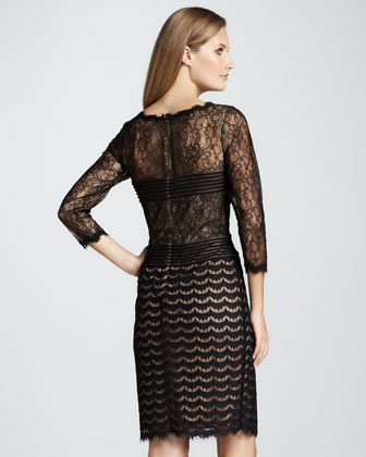 Tadashi Shoji Three-Quarter-Sleeve Mixed Lace Cocktail Dress
