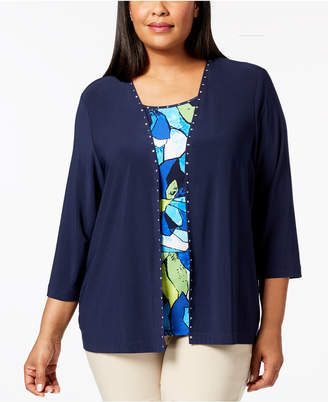 Alfred Dunner Plus Size Royal Street Layered-Look Rhinestone-Trim Top