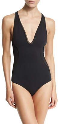 Stella McCartney Neoprene & Mesh One-Piece Swimsuit