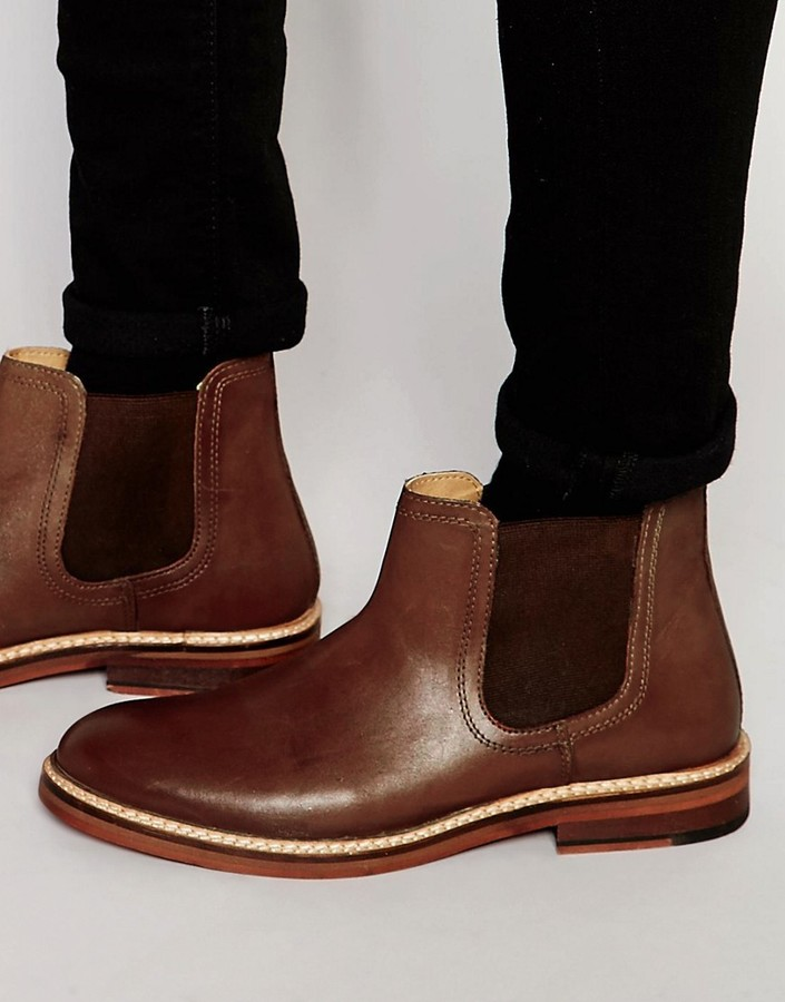 ASOS BRAND ASOS Chelsea Boots in Tan Leather With Chunky Sole
