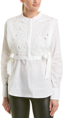 BCBGMAXAZRIA Popover Embroidered Top