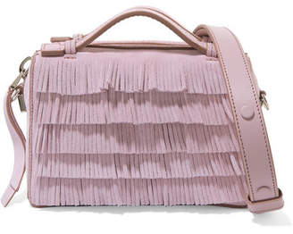 Tod's Bauletto Micro Fringed Suede Shoulder Bag - Lilac