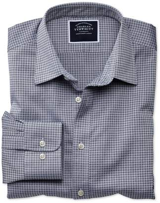 Charles Tyrwhitt Extra Slim Fit Blue and Grey Check Soft Textured Cotton Casual Shirt Single Cuff Size Large
