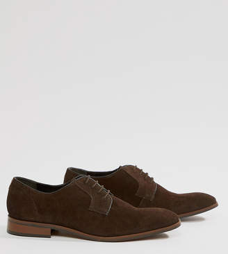 Dune Wide Fit Lace Up Suede Shoes In Brown Suede