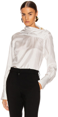 Victoria Beckham Asymmetric Drape Neck Blouse in White & Black | FWRD