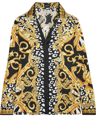 Versace - Printed Silk-twill Shirt - Yellow $995 thestylecure.com