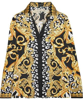 Versace - Printed Silk-twill Shirt - Yellow