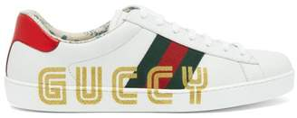 baf1f1586e4 Gucci New Ace Glitter Embellished Leather Trainers - Mens - White Multi