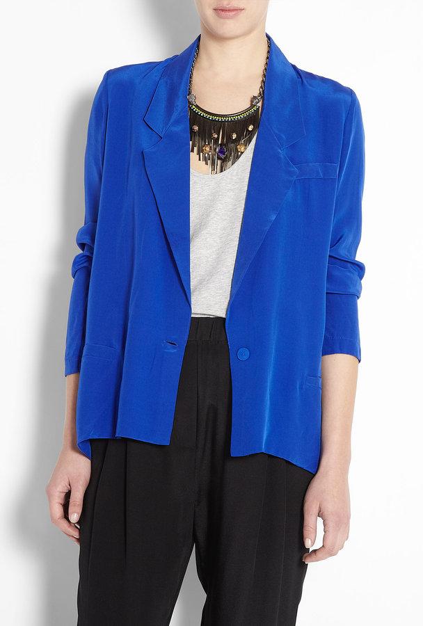 Zimmermann Sapphire Blue Silk Swing Oversized Blazer