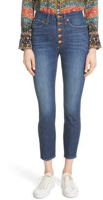 Alice + Olivia AO.LA by AO.LA Good High Waist Exposed Button Skinny Jeans