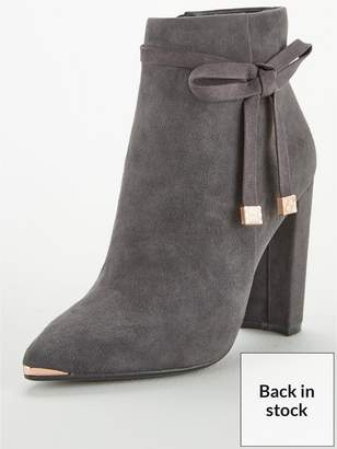 Ted Baker Qatena Suede Bow Ankle Boot - Charcoal