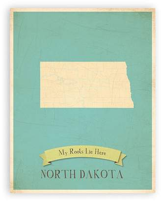Dakota Children Inspire Design My Roots North Personalized Wall Map Inch Print, Kid's North Map Wall Art, Children's North Vintage State Map, ND Wall Art Print, Nursery Decor