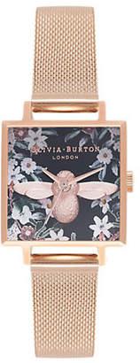 Olivia Burton Bejeweled Florals Rosegold Stainless Steel Mesh Bracelet Watch
