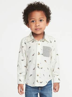 Old Navy Fish-Print Twill Shirt for Toddler Boys