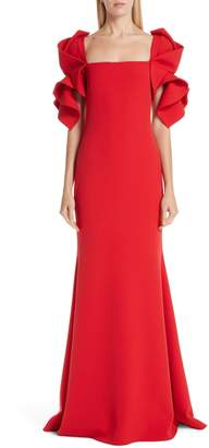 Badgley Mischka Ruffle Sleeve Evening Dress