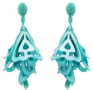 Oscar de la Renta Large Lace Impatiens Flower Drop Swarovski Crystal Embellished Clip On Earrings