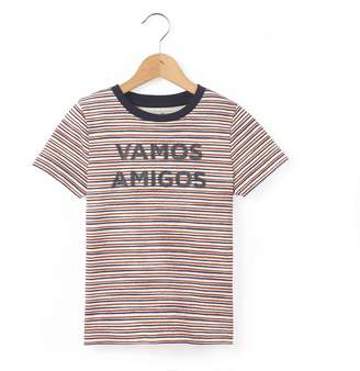 La Redoute Collections Striped T-Shirt with Slogan, 3-12 Years