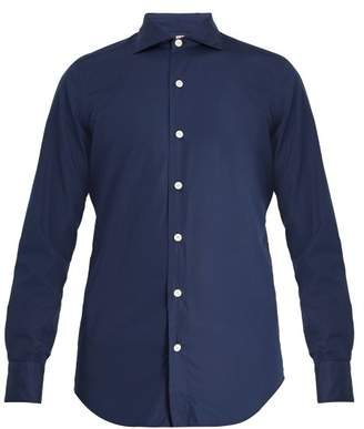 Finamore 1925 - Seattle Spread Collar Cotton Poplin Shirt - Mens - Navy