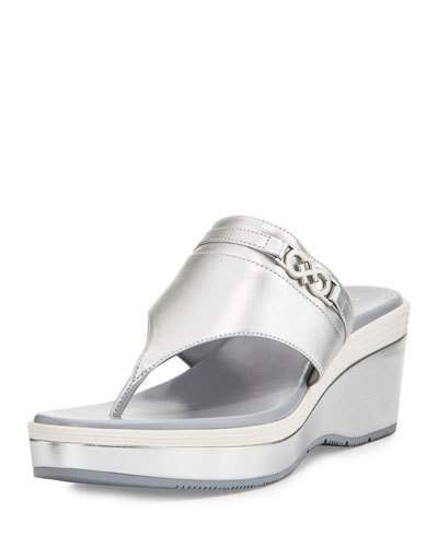 Cole Haan Cole Haan Lindy Grand Thong II Wedge Sandal, Silver
