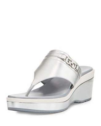 Cole Haan Lindy Grand Thong II Wedge Sandal, Silver $100 thestylecure.com