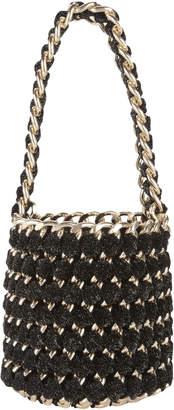 Tambonita Gold Chain Black Shimmer Bucket Bag