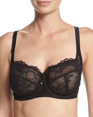 Wacoal Chrystalle Full-Figure Floral Lace Underwire Bra $84 thestylecure.com