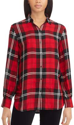 Chaps Women's Plaid Twill Tunic Shirt