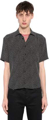 Saint Laurent Micro Polka Dots Short Sleeve Silk Shirt