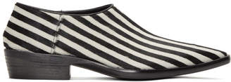 Haider Ackermann Black and White Okenite Pony Loafers
