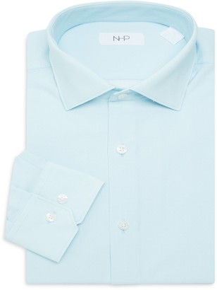 Saks Fifth Avenue Nhp Trim-Fit Solid-Color Dress Shirt