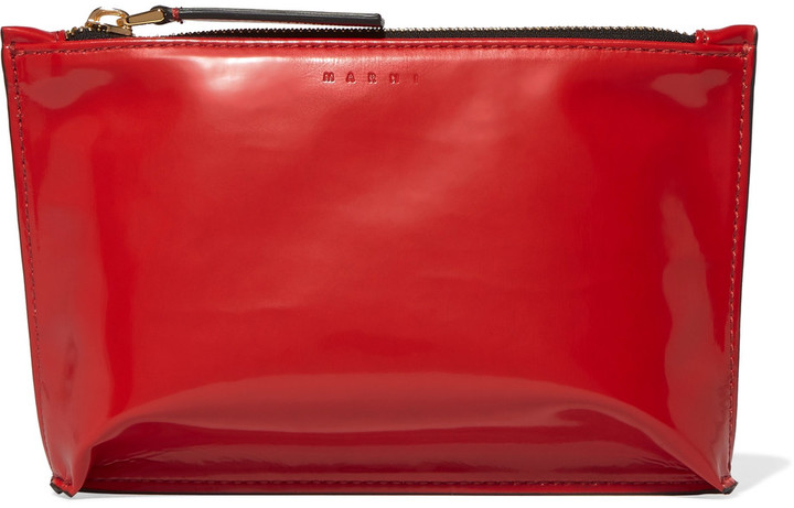 MarniMarni Faux patent-leather cosmetics case