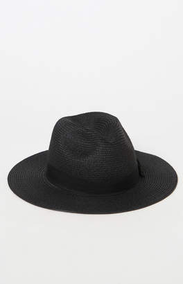 La Hearts Basic Black Straw Fedora Hat