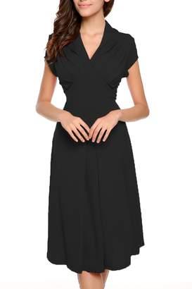 03ba6c23d877 ACEVOG Women's Deep-V Neck Elegant Cap Sleeve Vintage Bridesmaid Dress